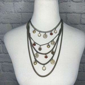 Lia Sophia Bronze Layered Charn Necklace